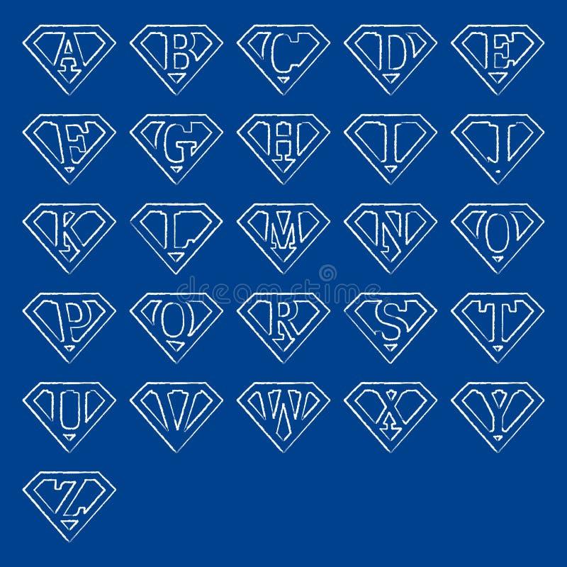 Klottra toppna bokstäver vektor illustrationer