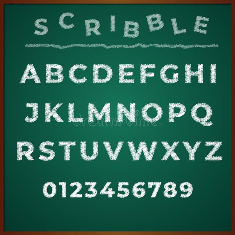 Klottra typ för det vita brädet för alfabetet stock illustrationer