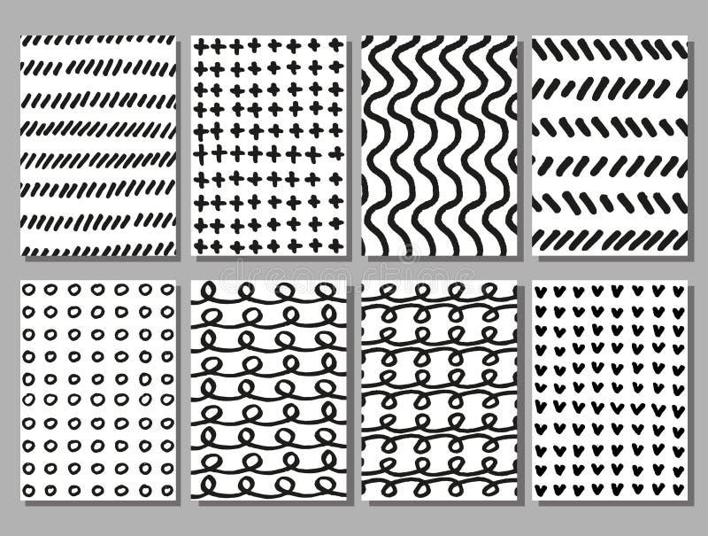 Klottra uppsättningen för texturer för handteckningsvektorn vektor illustrationer