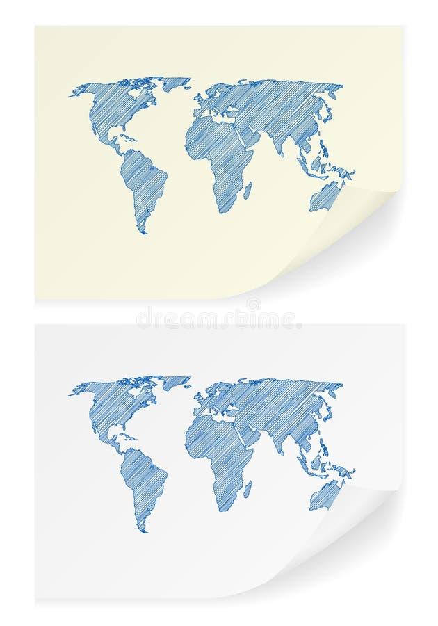 Klottra världskartan vektor illustrationer