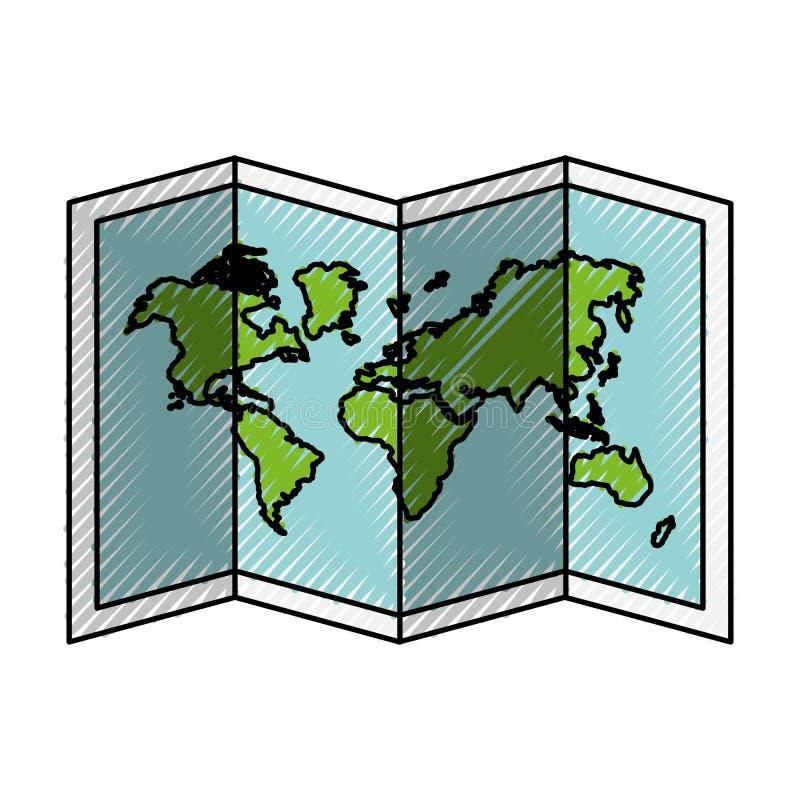 Klottra världskartatecknade filmen vektor illustrationer
