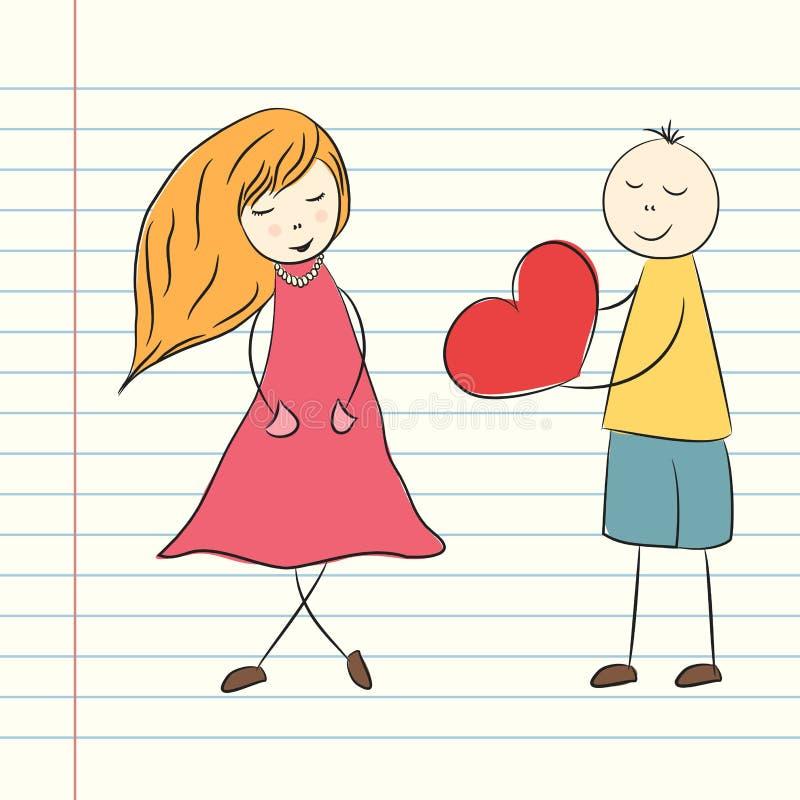 Klottra valentins dagillustrationen med pojken och flickan Vektormummel vektor illustrationer