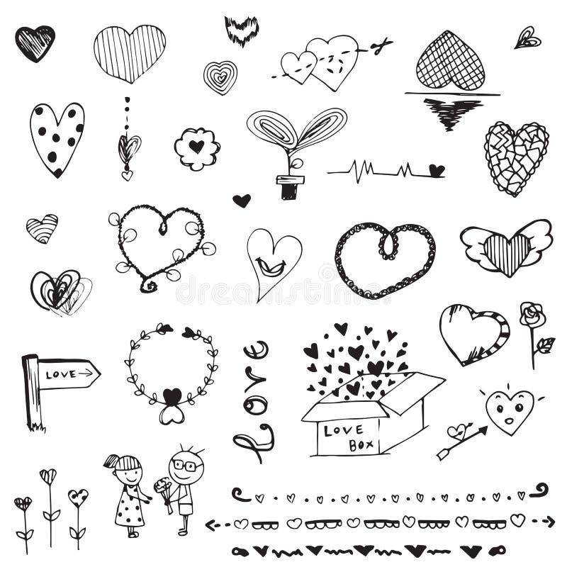 Klottra vektorfrihandsteckningen av förälskelse på vit bakgrund stock illustrationer
