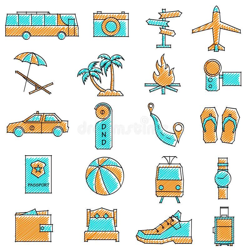 Klottrad loppsymbolsuppsättning stock illustrationer