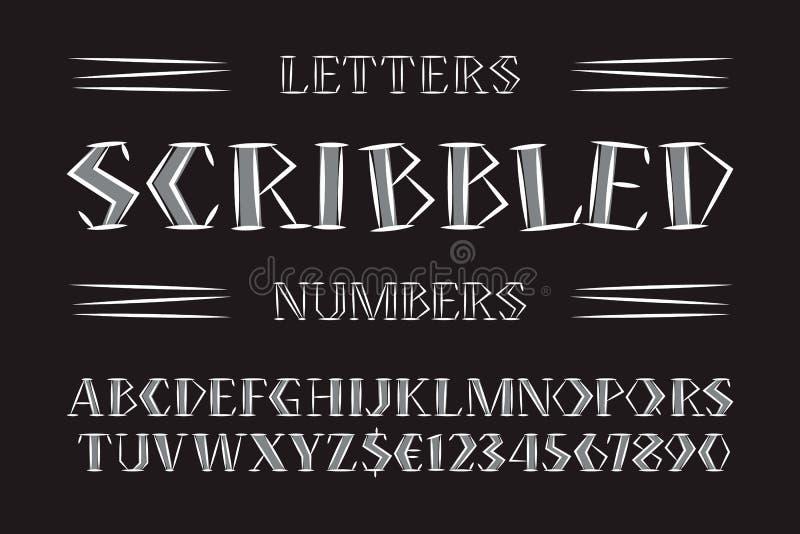 Klottrade bokstäver och nummer med dollar- och eurosymboler Handskriven monokrom stilsort Isolerat engelskt alfabet vektor illustrationer