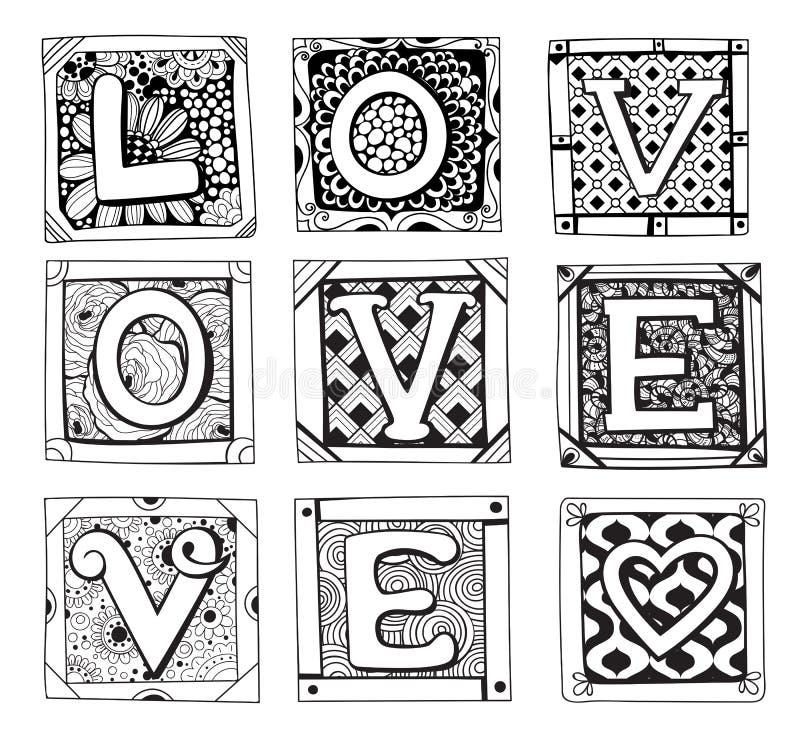 Klottrade kort med bokstäver royaltyfri illustrationer