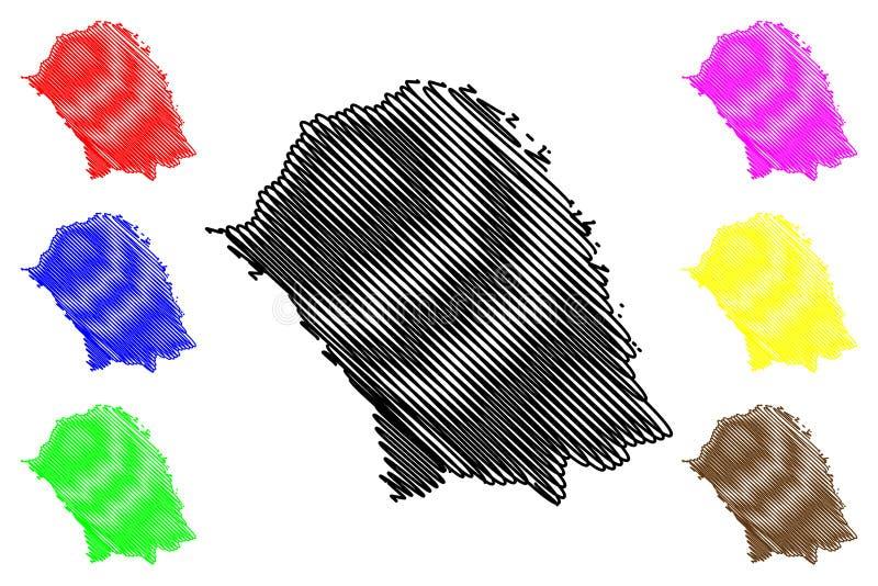 Klottrar administrativa uppdelningar f?r det Botosani l?net av Rum?nien, f?r region?versikt f?r utveckling Nord-Est illustration  vektor illustrationer