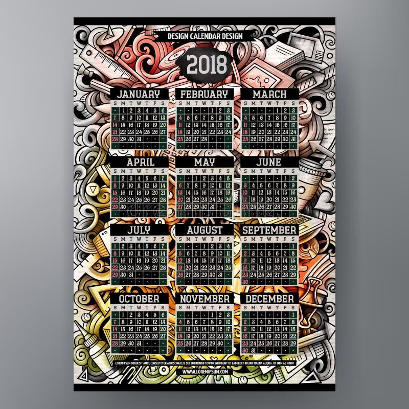 Klottrar den drog färgrika handen för tecknade filmen formgivaren den 2018 år kalendern vektor illustrationer