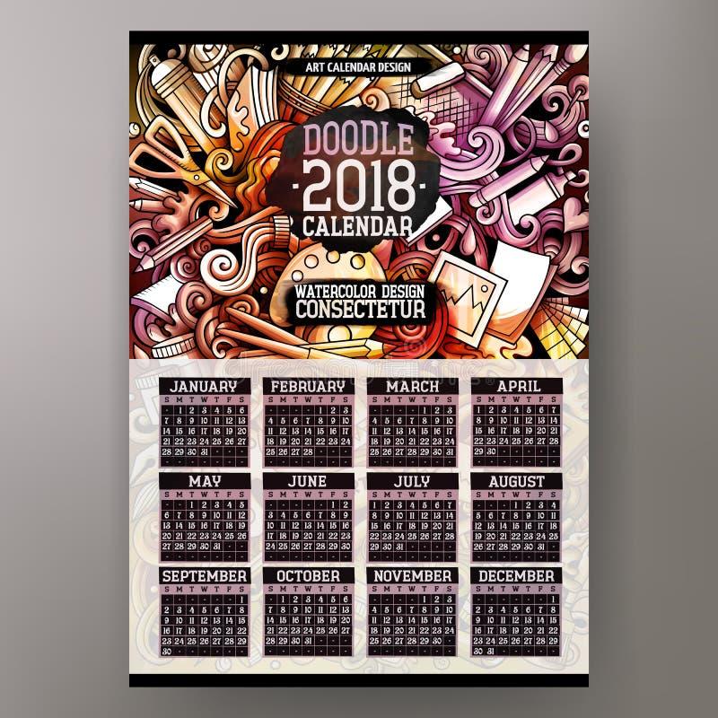 Klottrar den drog färgrika handen för tecknade filmen konstnären den 2018 år kalendern royaltyfri illustrationer