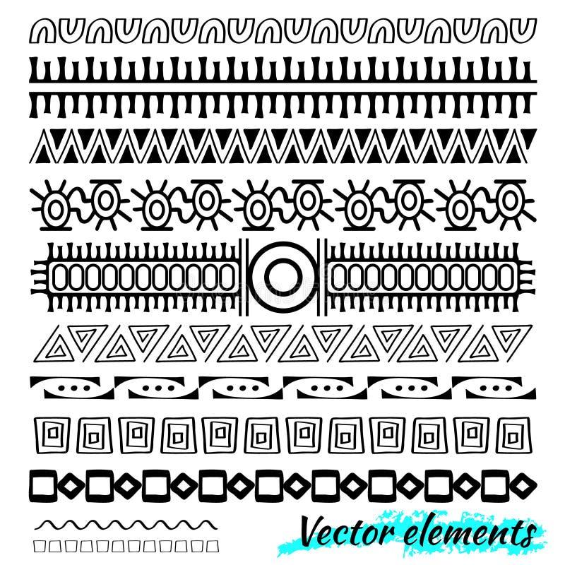 Klottrar den etniska handen drog vektorlinjen gränsuppsättning och hipster designbeståndsdelen Klottra stil vektor illustrationer
