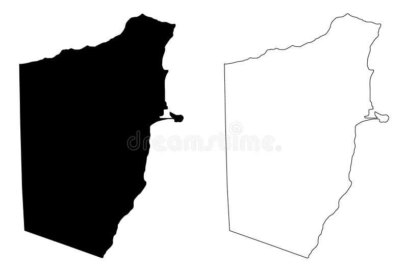 Klottrar den federala republiken för den Bari regionen av Somalia, horn av illustrationen för den Afrika översiktsvektorn, skissa stock illustrationer