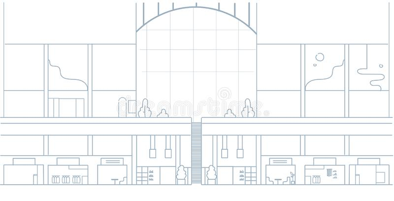 Klottrar den inre stora supermarket för den moderna shoppinggallerian med många boutique detaljist somdesignen skissar, horisonta royaltyfri illustrationer