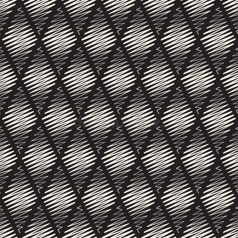 Klottrar den sömlösa svartvita romben Shape för vektorn linjen modell royaltyfri illustrationer
