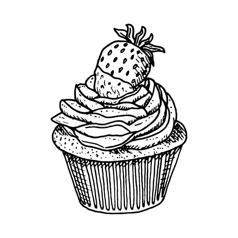 Klottrar den utdragna kakan för handen med jordgubbar Skissa stilsymbolen Taget i Genua, Italien bakgrund isolerad white Plan des vektor illustrationer