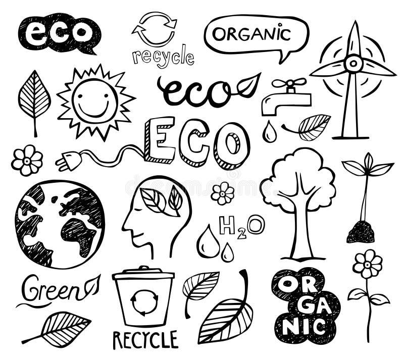 klottrar eco vektor illustrationer