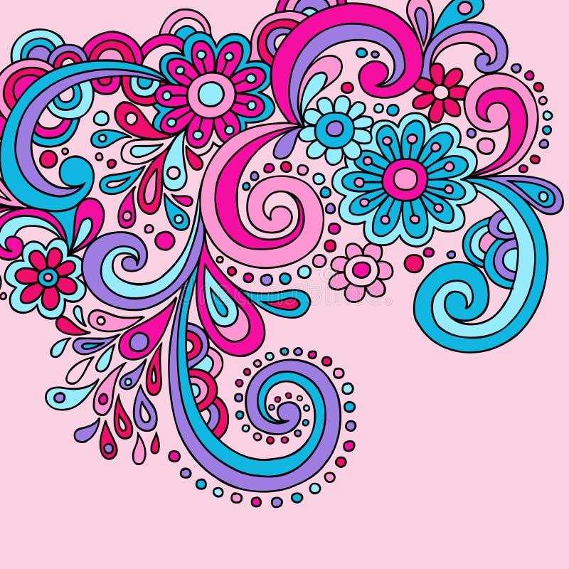 klottrar groovy psychedelic stock illustrationer