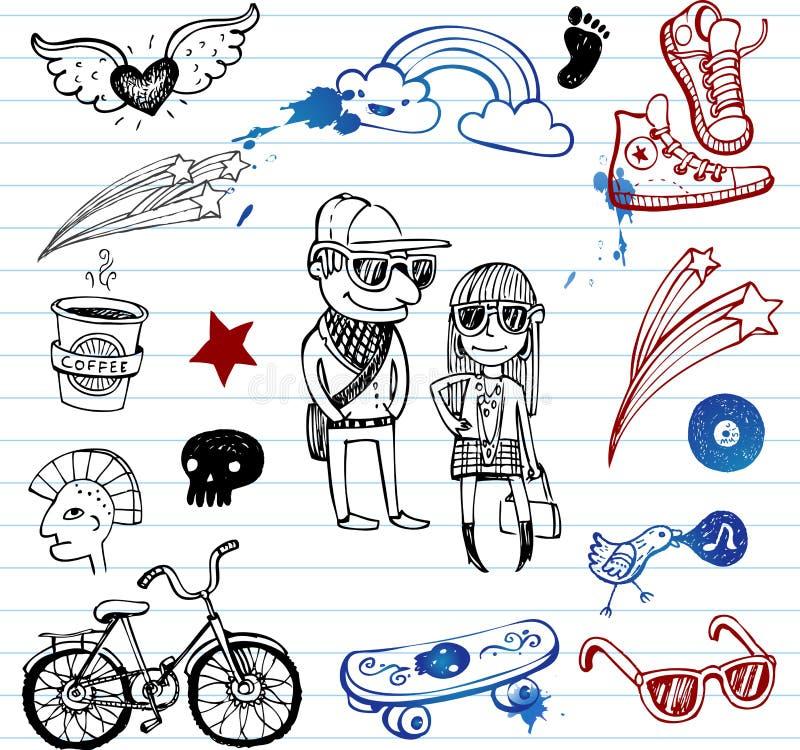 klottrar hipsters stock illustrationer