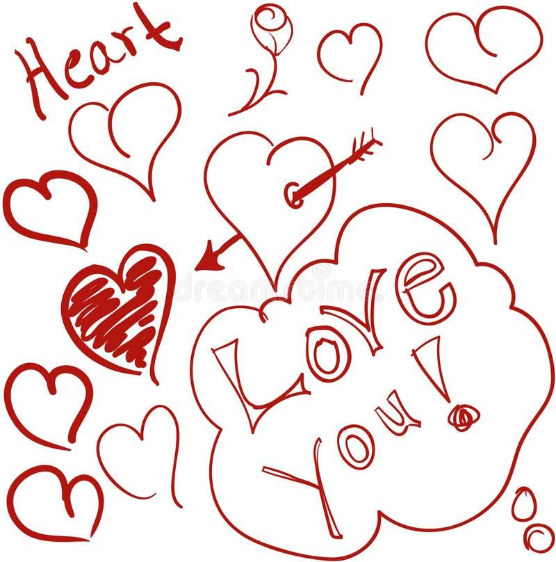 klottrar hjärta royaltyfri illustrationer