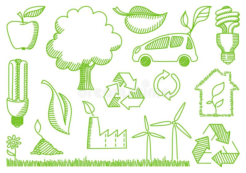 klottrar miljösymboler royaltyfri illustrationer