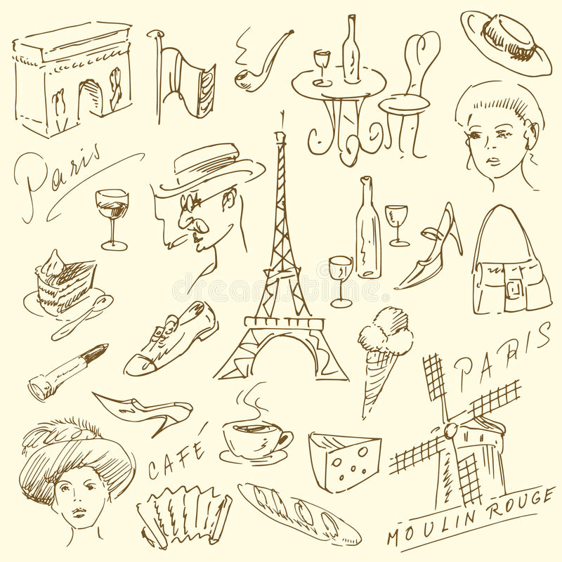 klottrar paris royaltyfri illustrationer