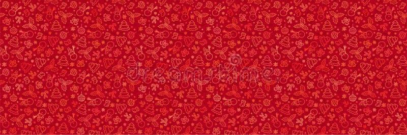 Klottrar röd jul för vektor stilmodellen med symboler för ferier för hand för nytt år utdragna royaltyfri illustrationer