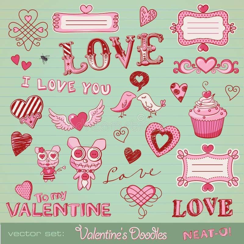 klottrar s-valentinen royaltyfri illustrationer