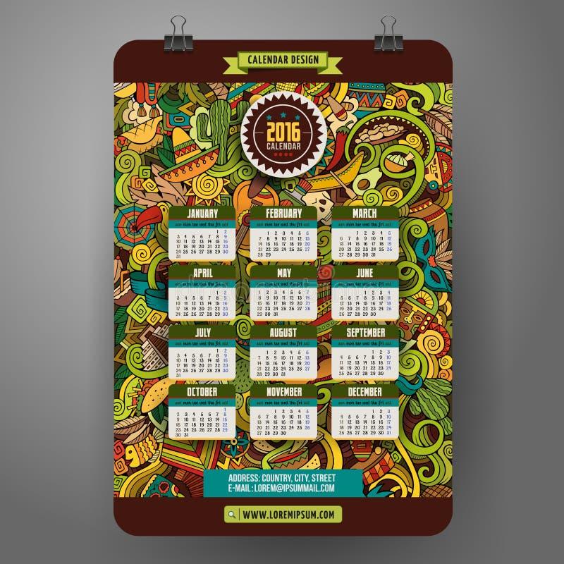 Klottrar tecknad filmlatin - amerikansk kalender 2016 år stock illustrationer