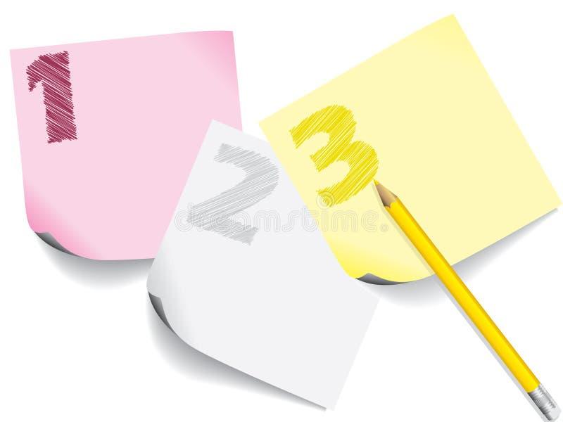 Klottrat numrerar på notepapers stock illustrationer