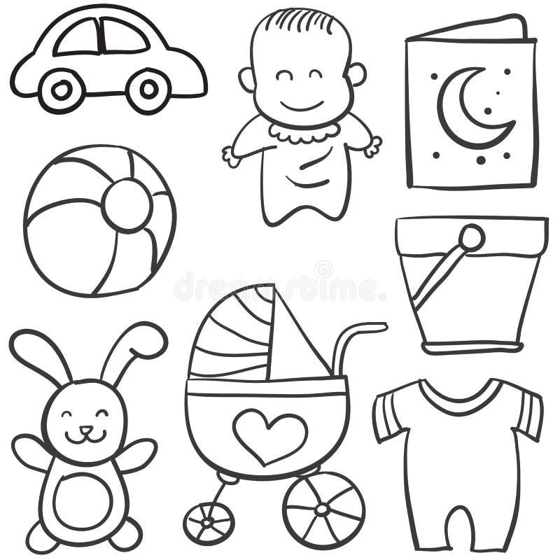 Klottret av behandla som ett barn med leksaken vektor illustrationer