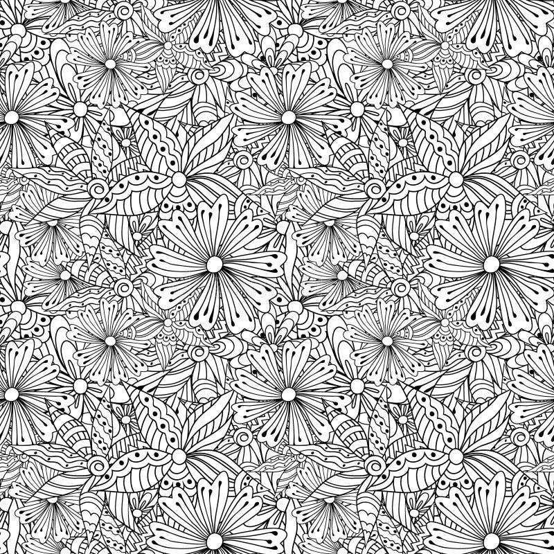 Klottret blommar den monokromma sömlösa modellen vektor illustrationer