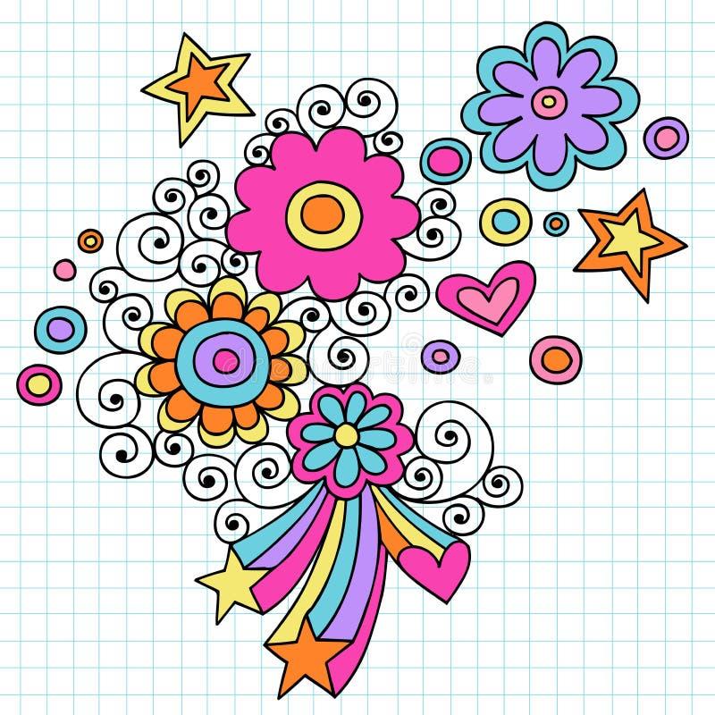 klottret blommar den psychedelic vektorn för anteckningsboken stock illustrationer