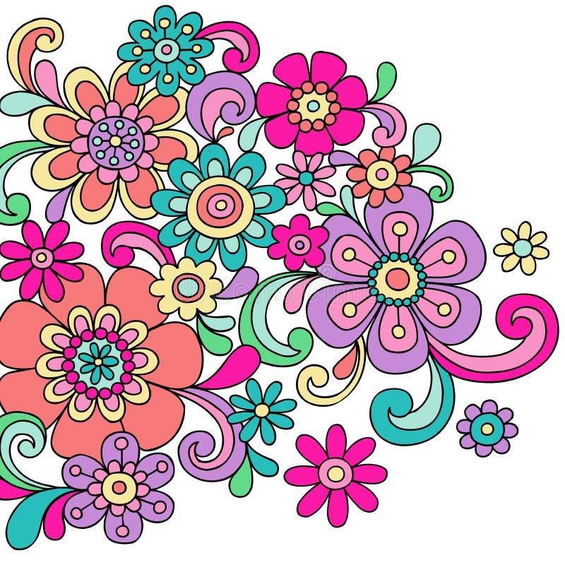 klottret blommar den psychedelic vektorn för henna royaltyfri illustrationer