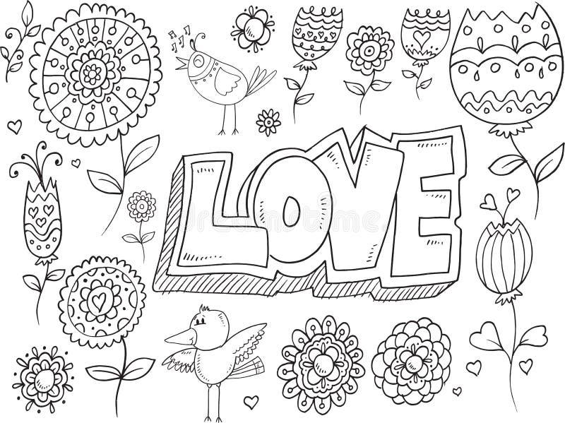 Klottret blommar fågelvektorn royaltyfri illustrationer