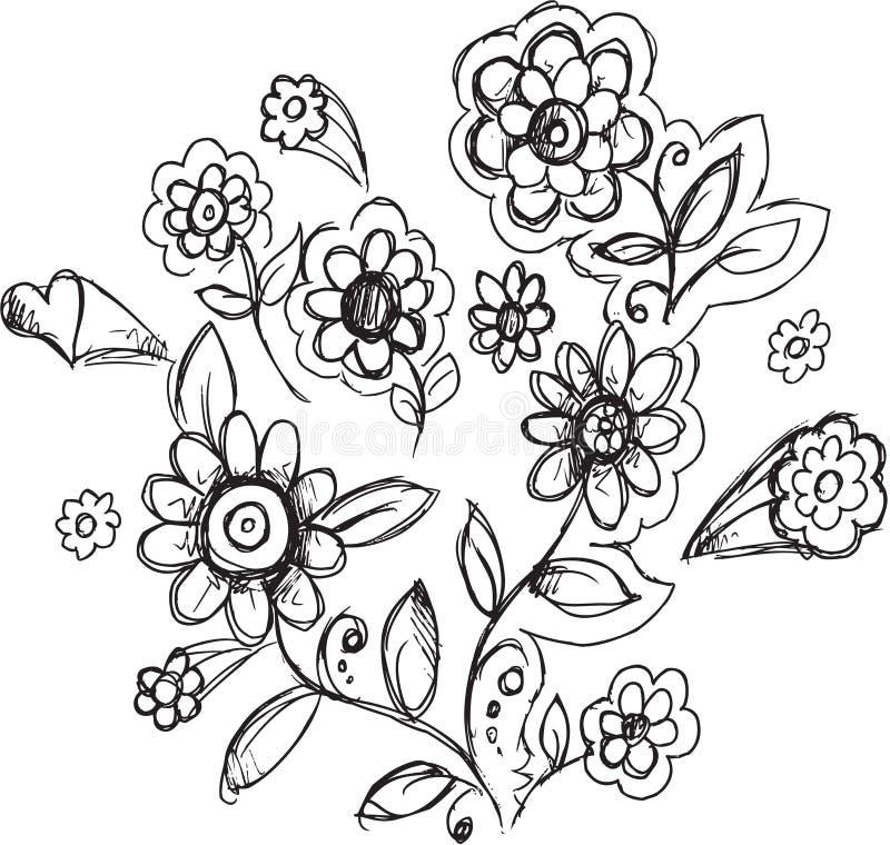Klottret blommar teckningsvektorn royaltyfri illustrationer