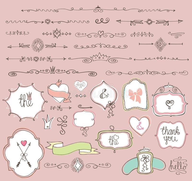 Klottret märker, emblem, ramen, gränsen, dekorbeståndsdel royaltyfri illustrationer