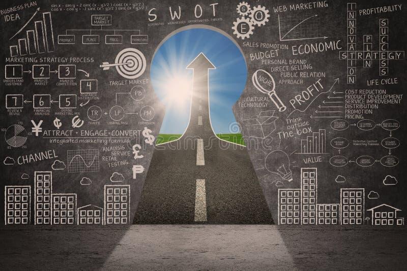 Klottret och pilen för strategi för affärsmarknadsföringsframgång undertecknar stock illustrationer