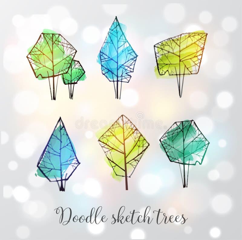 Klottret skissar träd på glödande bakgrund för vit royaltyfri illustrationer