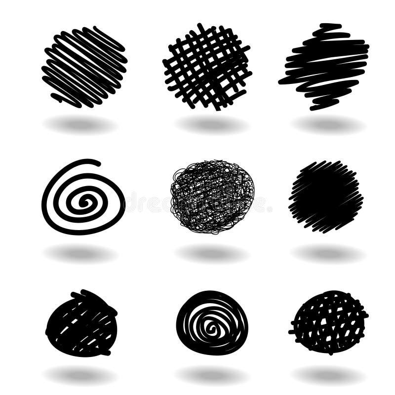 klottret som är på måfå, klottrar vektor illustrationer