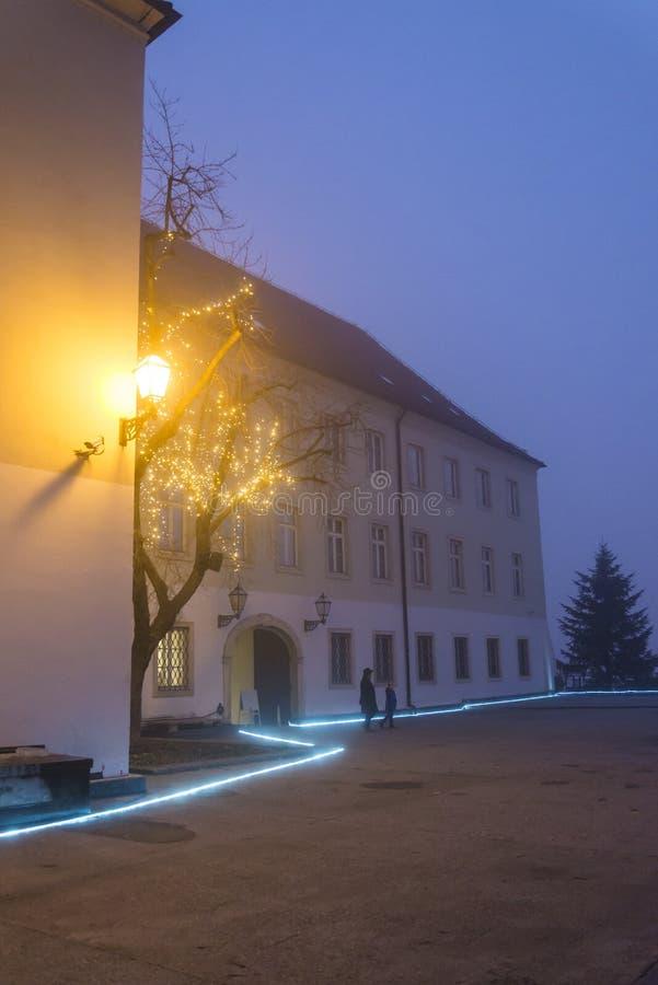 Klovicevi dvoribyggnad, övrestaden, Zagreb, Kroatien royaltyfri fotografi