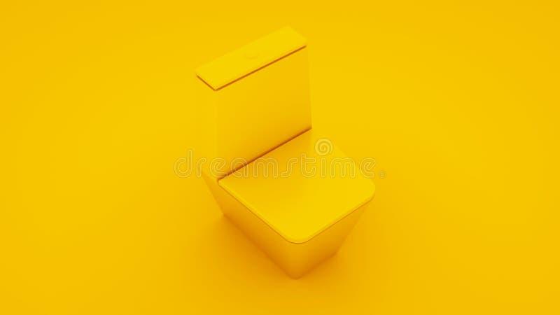 Klozetowa niecka odizolowywająca na żółtym tle ilustracja 3 d ilustracja wektor