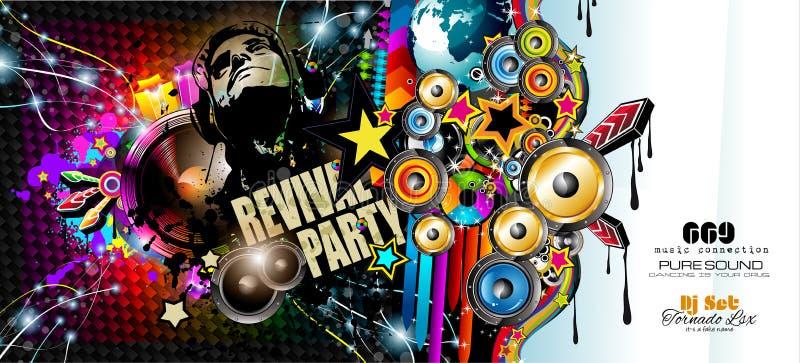 Klubba diskoreklambladmallen med musikbeståndsdelar, färgrika Scalable bakgrunder stock illustrationer