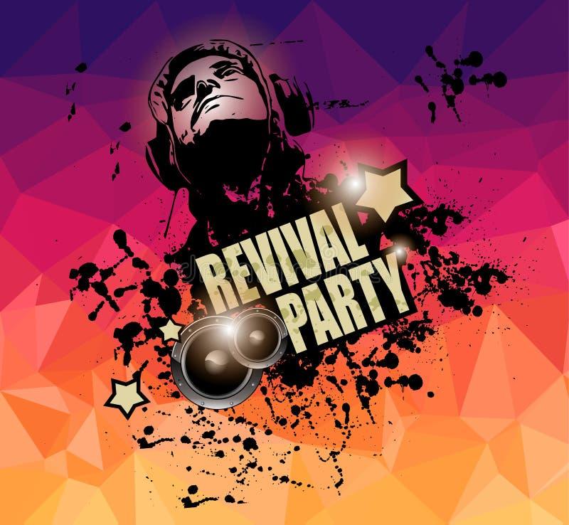 Klubba diskoreklambladmallen med musikbeståndsdelar, färgrika Scalable bakgrunder royaltyfri illustrationer