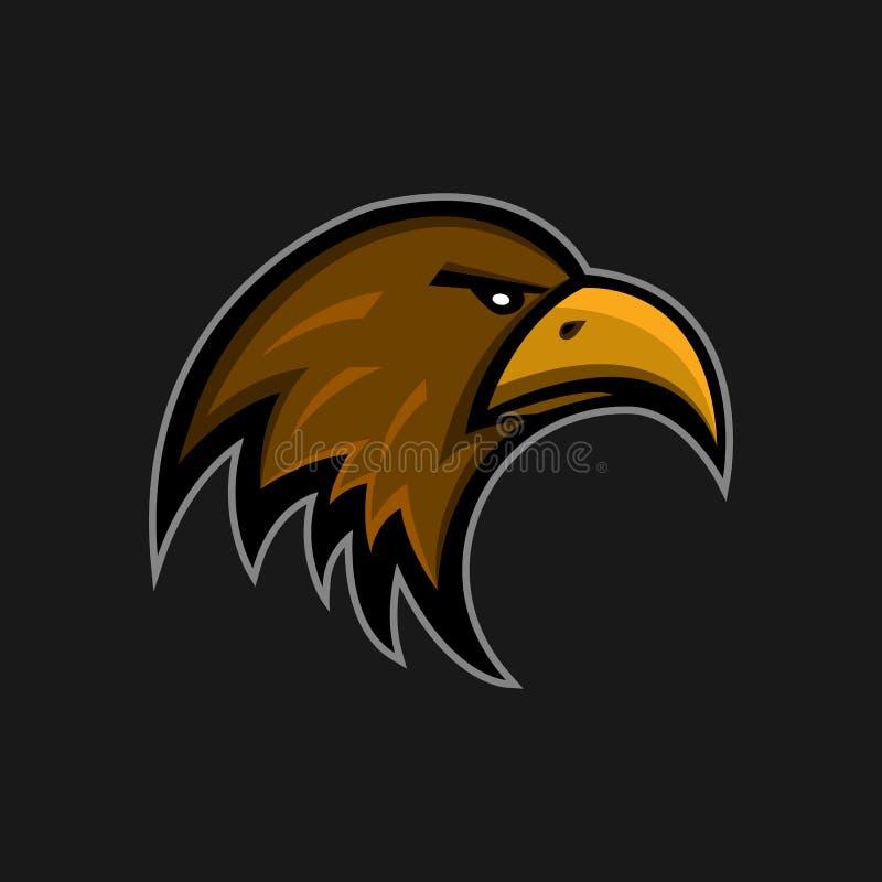Klubba för sportar för maskotörnlogo Falkhuvudemblem Aggressiv klistermärke för fågel för jägareframsidahök stock illustrationer
