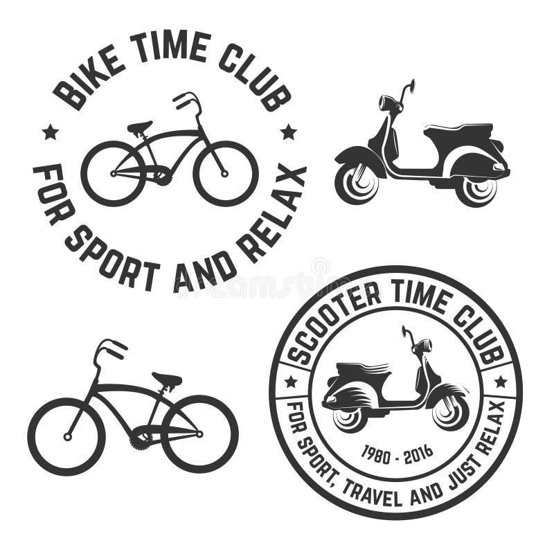 Klubba för tid för cykel och för sparkcykel för vektorbildlogo vektor illustrationer