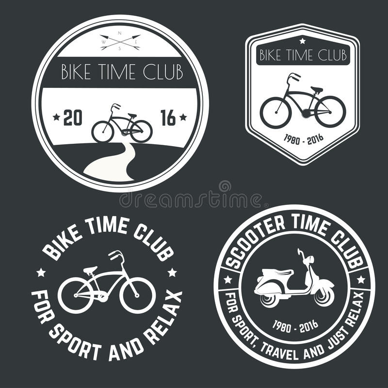 Klubba för tid för cykel och för sparkcykel för vektorbildlogo royaltyfri illustrationer