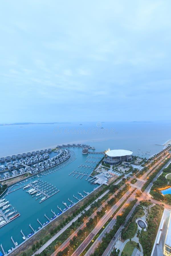Klubba för Xiamen Huandao vägXiangshan yacht arkivfoto