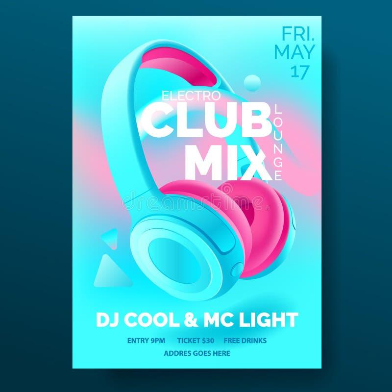 Klubbaaffisch med hörlurar, dansparti, reklamblad, inbjudan, banermall, dj-musikhändelse, färgrik blått och rosa royaltyfri illustrationer