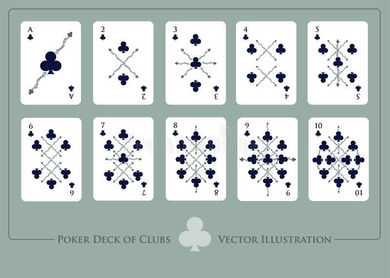 klubbar däcket Från Ace till tio av klubbor vektor illustrationer