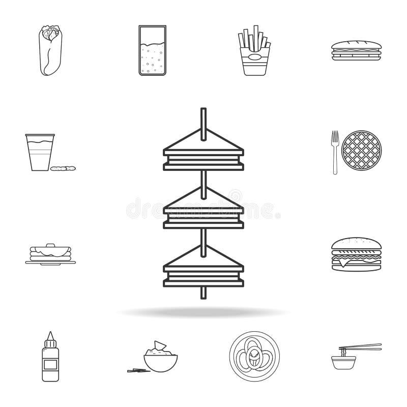 klubbasmörgås på stcksymbol Detaljerad uppsättning av snabbmatsymboler Högvärdig kvalitets- grafisk design En av samlingssymboler stock illustrationer