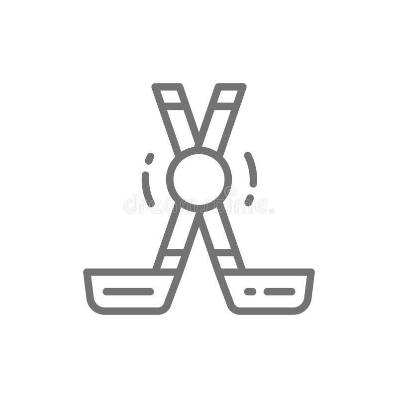 Klubbor och puck, linje symbol för sportutrustning vektor illustrationer
